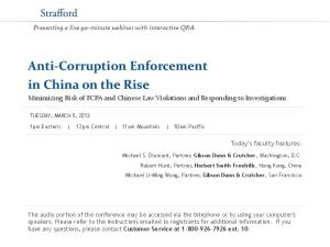 Anti-Corruption Enforcement in China on the Rise