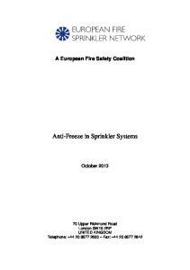 Anti-Freeze in Sprinkler Systems