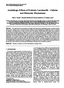 Antiallergic Effects of Probiotic Lactobacilli Cellular and Molecular Mechanisms