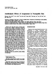 Antiallodynic Effects of Acupuncture in Neuropathic Rats