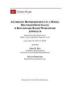 ANTIBIOTIC REIMBURSEMENT IN A MODEL DELINKED FROM SALES: A BENCHMARK-BASED WORLDWIDE APPROACH