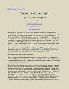 Antichrists-who are they?