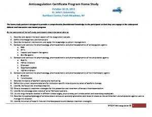 Anticoagulation Certificate Program Home Study
