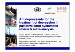 Antidepressants for the treatment of depression in palliative care: systematic review & meta-analysis
