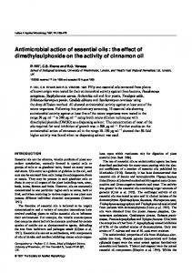 Antimicrobial action of essential oils : the effect of dimethylsulphoxide on the activity of cinnamon oil