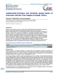 Antimicrobial Resistance and Sensitivity among Isolates of Esherichia coli from Urine Samples in Denizli, Turkey