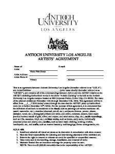 ANTIOCH UNIVERSITY LOS ANGELES ARTISTS AGREEMENT