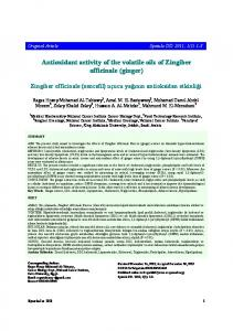 Antioxidant activity of the volatile oils of Zingiber officinale (ginger)