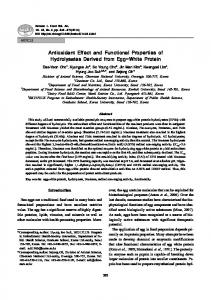 Antioxidant Effect and Functional Properties of Hydrolysates Derived from Egg-White Protein