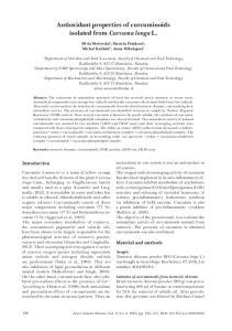 Antioxidant properties of curcuminoids isolated from Curcuma longa L