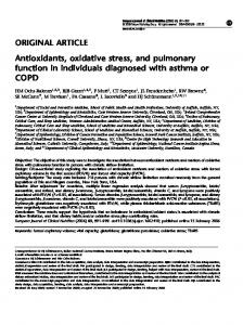 Antioxidants, oxidative stress, and pulmonary function in individuals diagnosed with asthma or COPD