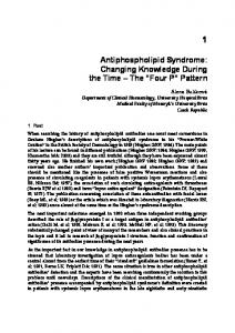 Antiphospholipid Syndrome: Changing Knowledge During the Time The Four P Pattern