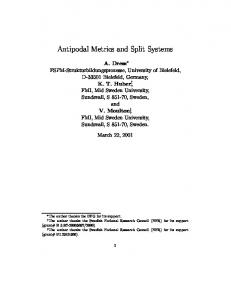 Antipodal Metrics and Split Systems