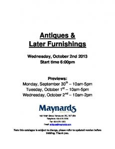 Antiques & Later Furnishings