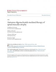Antisense oligonucleotide mediated therapy of spinal muscular atrophy