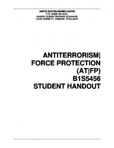 ANTITERRORISM FORCE PROTECTION (AT FP) B1S5456 STUDENT HANDOUT