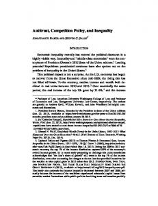 Antitrust, Competition Policy, and Inequality
