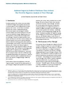 Antitrust Impact in Indirect Purchaser Class Actions: The Need for Rigorous Analysis of Pass-Through