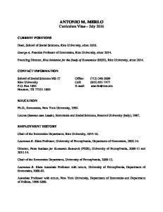 ANTONIO M. MERLO Curriculum Vitae July 2016