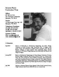 Antonio Raciti Curriculum Vitae