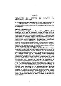 ANUNCIO REGLAMENTO DEL REGISTRO DE FACTURAS DEL AYUNTAMIENTO DE ALANGE