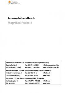 Anwenderhandbuch MagniLink Voice II