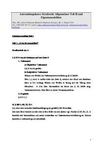 Anwendungskurs: Strafrecht Allgemeiner Teil II und Eigentumsdelikte