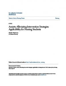 Anxiety Alleviating Intervention Strategies: Applicability for Nursing Students