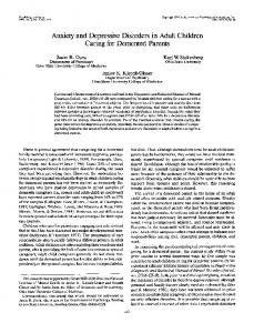 Anxiety and Depressive Disorders in Adult Children Caring for Demented Parents