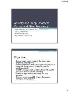 Anxiety and Sleep Disorders During and After Pregnancy
