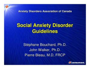 Anxiety Disorders Association of Canada Social Anxiety Disorder Guidelines