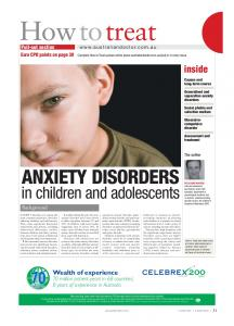 ANXIETY DISORDERS in children and adolescents Background