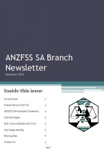 ANZFSS SA Branch Newsletter December 2016