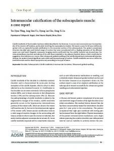 AOSM. Intramuscular calcification of the subscapularis muscle: a case report. Case Report INTRODUCTION CASE REPORT