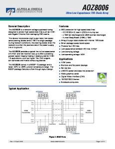 AOZ8006 Ultra-Low Capacitance TVS Diode Array