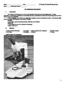 AP Biology 256: Basic Microscopy Study THE COMPOUND MICROSCOPE