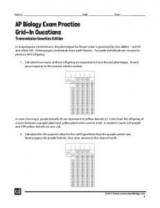 AP Biology Exam Practice Grid-In Questions Transmission Genetics Edition