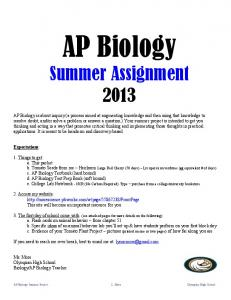 AP Biology Summer Assignment 2013