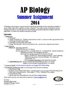 AP Biology Summer Assignment 2014