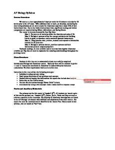 AP Biology Syllabus. Course Overview: