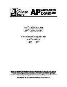 AP Calculus AB AP Calculus BC