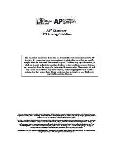 AP Chemistry 1999 Scoring Guidelines