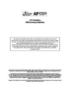 AP Chemistry 2000 Scoring Guidelines