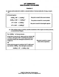 AP CHEMISTRY 2008 SCORING GUIDELINES