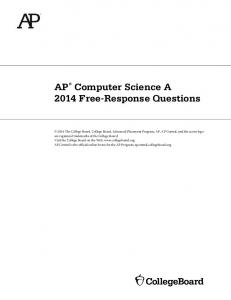 AP Computer Science A 2014 Free-Response Questions