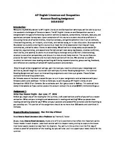 AP English Literature and Composition Summer Reading Assignment
