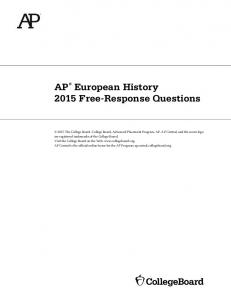 AP European History 2015 Free-Response Questions