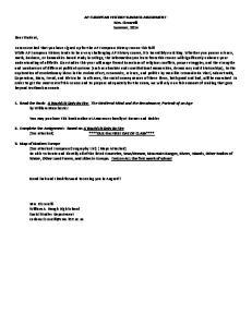 AP EUROPEAN HISTORY SUMMER ASSIGNMENT: Mrs. Ciccarelli Summer, 2014