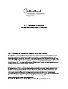 AP German Language 2005 Free-Response Questions