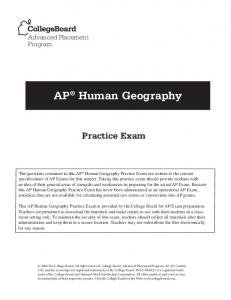 AP Human Geography. Practice Exam. Advanced Placement Program